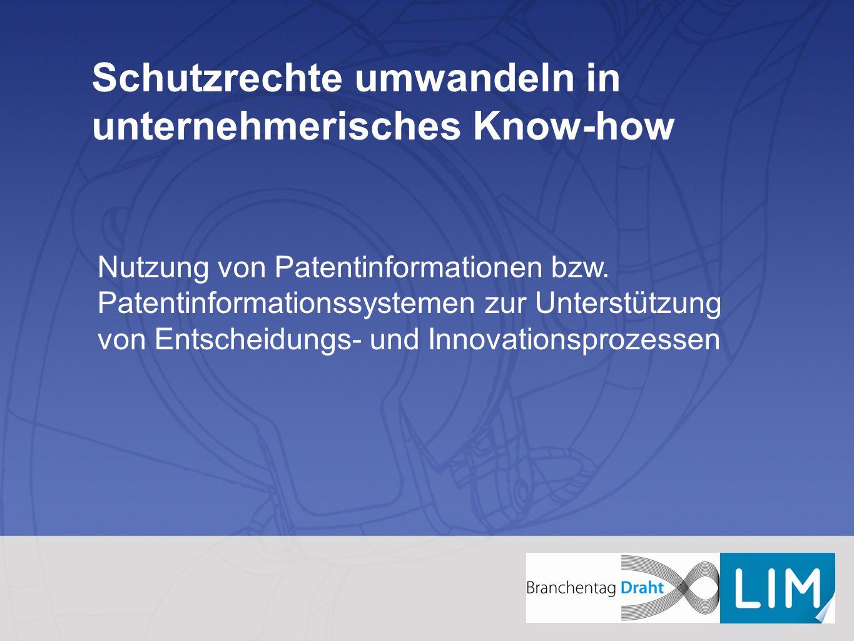 Schutzrechte umwandeln in unternehmerisches Know-how Nutzung von Patentinformationen bzw. Patentinformationssystemen zur Unterstützung von Entscheidun
