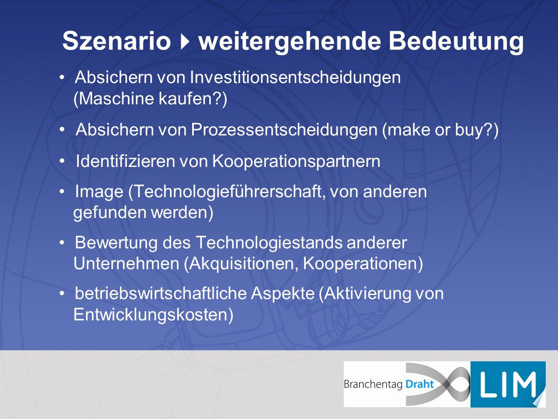 Szenario  weitergehende Bedeutung Absichern von Investitionsentscheidungen (Maschine kaufen?) Absichern von Prozessentscheidungen (make or buy?) Iden