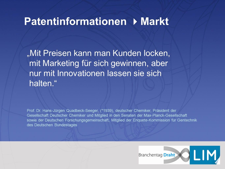 """Patentinformationen  Markt """"Mit Preisen kann man Kunden locken, mit Marketing für sich gewinnen, aber nur mit Innovationen lassen sie sich halten."""" P"""