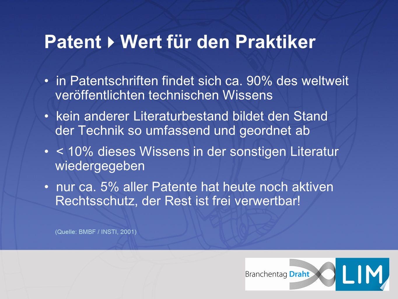 Patent  Wert für den Praktiker in Patentschriften findet sich ca. 90% des weltweit veröffentlichten technischen Wissens kein anderer Literaturbestand