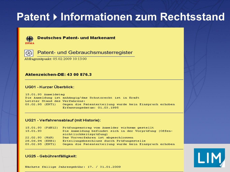 Patent  Informationen zum Rechtsstand