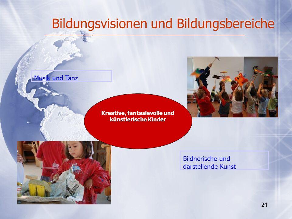 Bildungsvisionen und Bildungsbereiche 24 Bildnerische und darstellende Kunst Musik und Tanz Kreative, fantasievolle und künstlerische Kinder