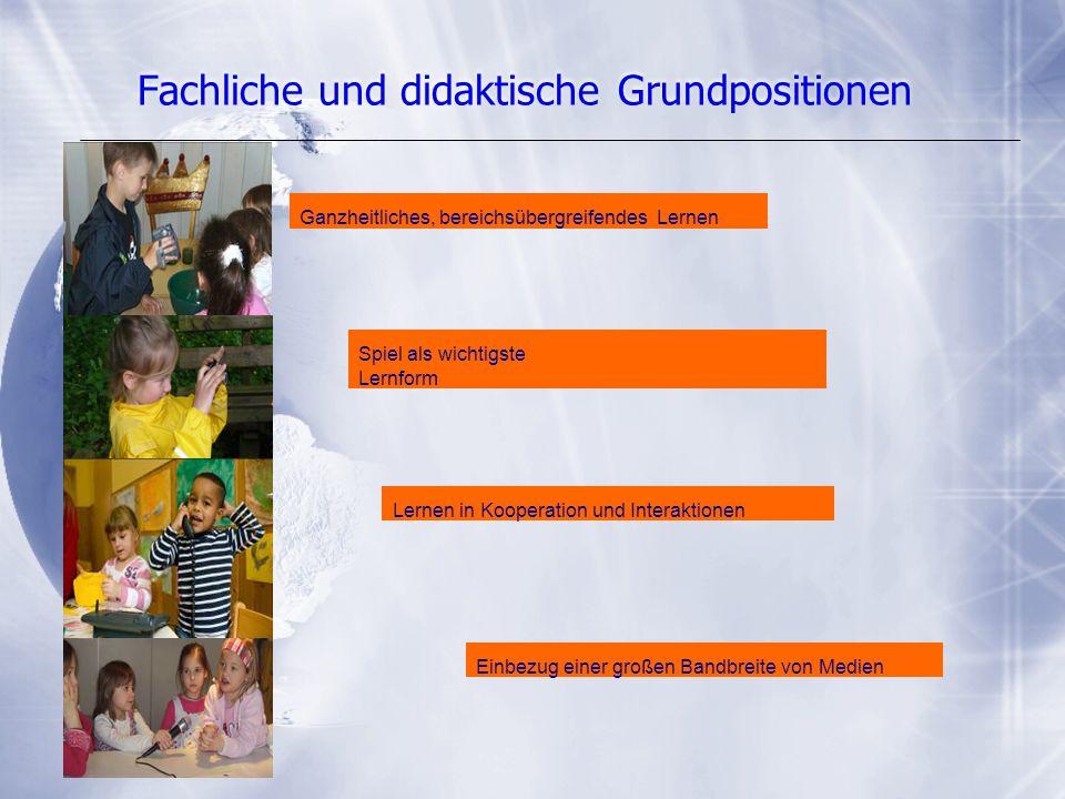 Fachliche und didaktische Grundpositionen Ganzheitliches, bereichsübergreifendes Lernen Spiel als wichtigste Lernform Lernen in Kooperation und Intera