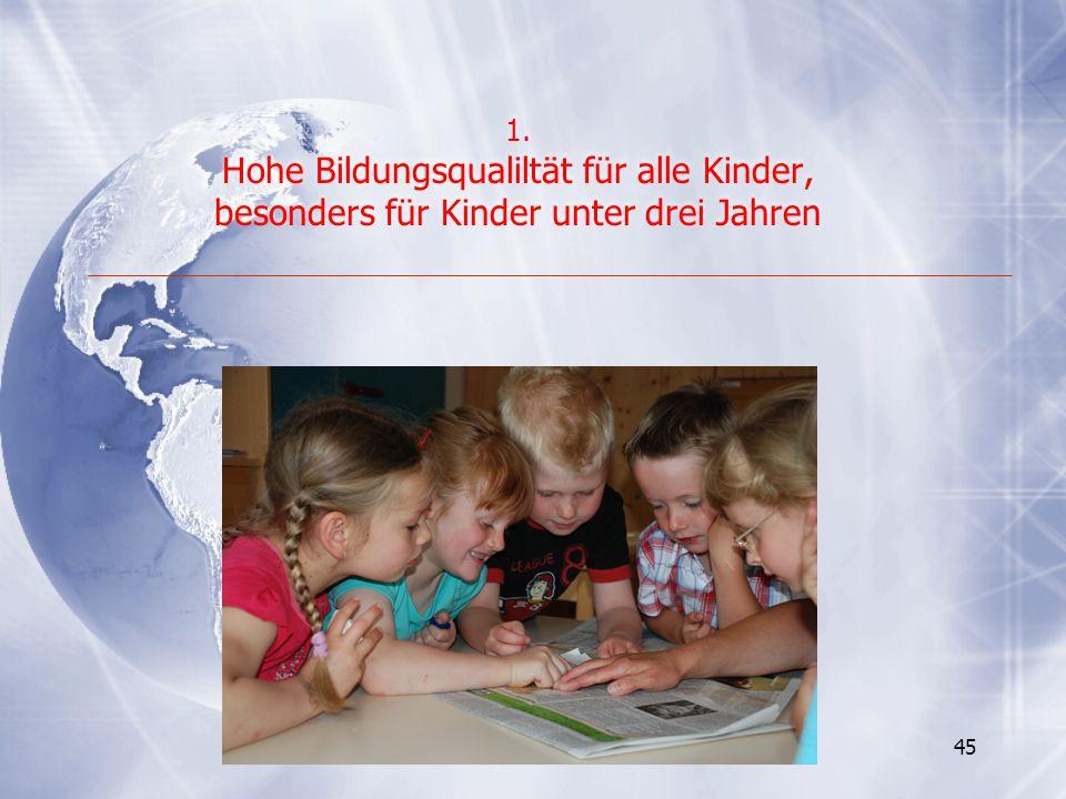 45 1. Hohe Bildungsqualiltät für alle Kinder, besonders für Kinder unter drei Jahren