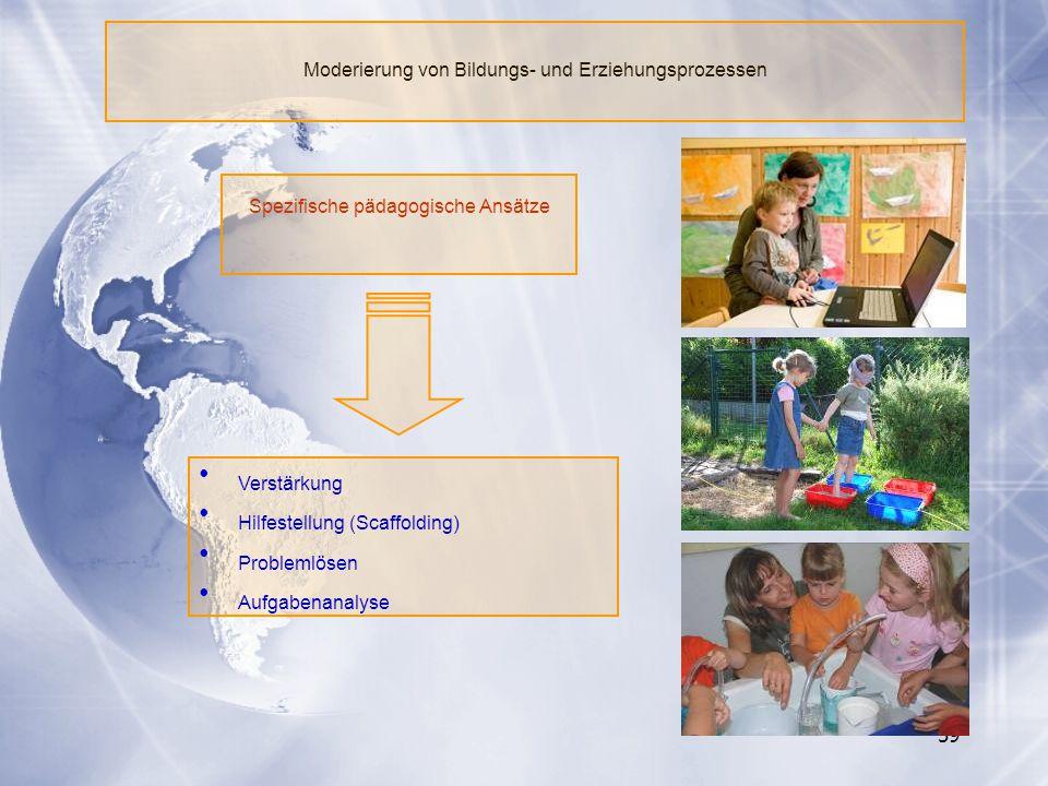 59 Verstärkung Hilfestellung (Scaffolding) Problemlösen Aufgabenanalyse Moderierung von Bildungs- und Erziehungsprozessen Spezifische pädagogische Ans