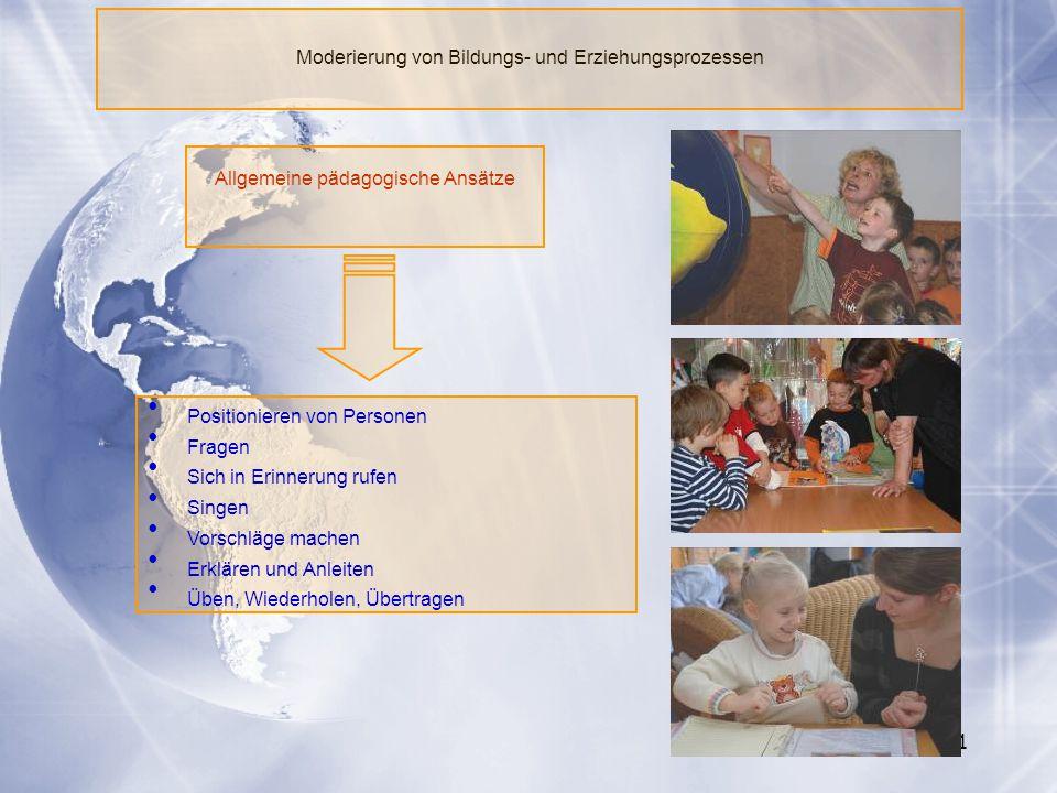 61 Moderierung von Bildungs- und Erziehungsprozessen Allgemeine pädagogische Ansätze Positionieren von Personen Fragen Sich in Erinnerung rufen Singen