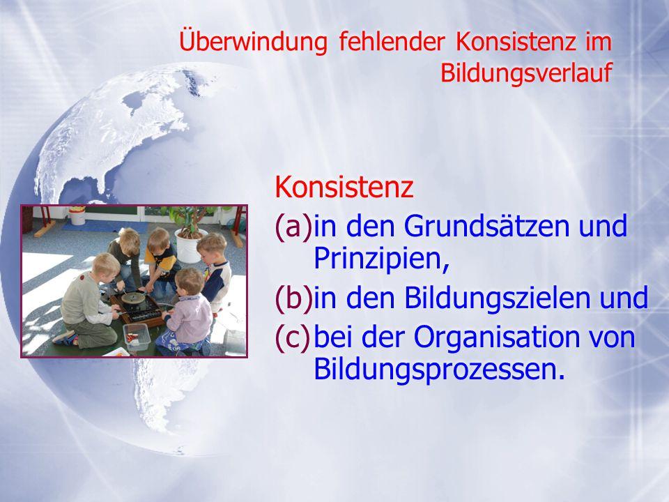 Überwindung fehlender Konsistenz im Bildungsverlauf Konsistenz (a)in den Grundsätzen und Prinzipien, (b)in den Bildungszielen und (c)bei der Organisat