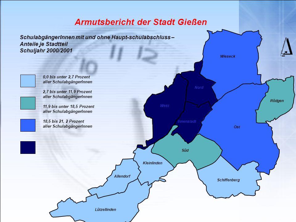 Armutsbericht der Stadt Gießen Wieseck Rödgen Schiffenberg Lützellinden SchulabgängerInnen mit und ohne Haupt-schulabschluss – Anteile je Stadtteil Sc