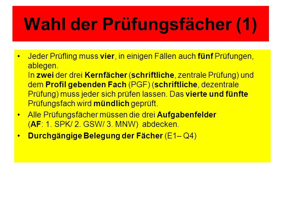 Wahl der Prüfungsfächer (2) SP- Profil/ bili.