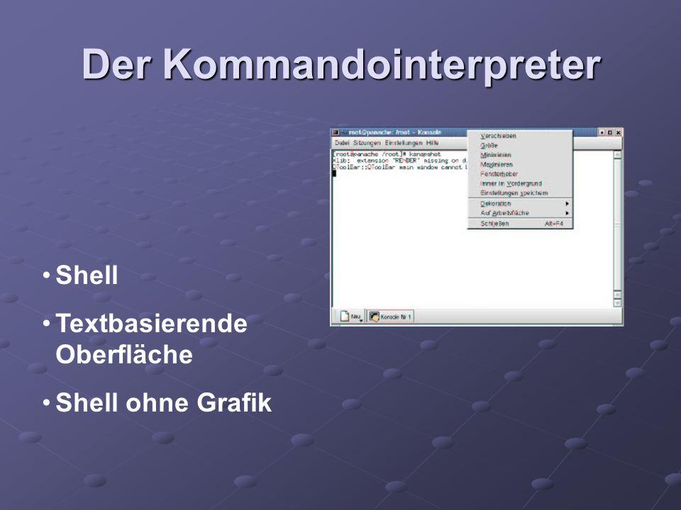 Der Kommandointerpreter Shell Textbasierende Oberfläche Shell ohne Grafik