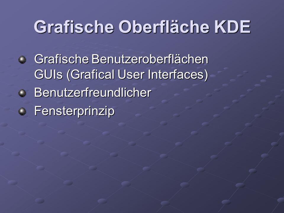 Grafische Oberfläche KDE Grafische Benutzeroberflächen GUIs (Grafical User Interfaces) BenutzerfreundlicherFensterprinzip