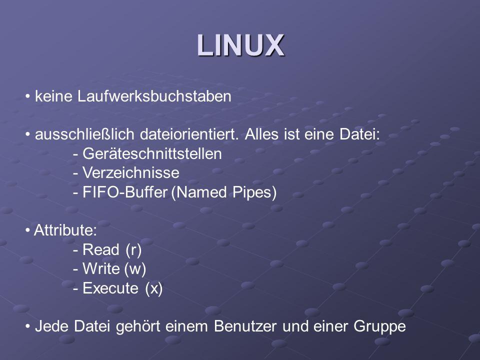 keine Laufwerksbuchstaben ausschließlich dateiorientiert. Alles ist eine Datei: - Geräteschnittstellen - Verzeichnisse - FIFO-Buffer (Named Pipes) Att