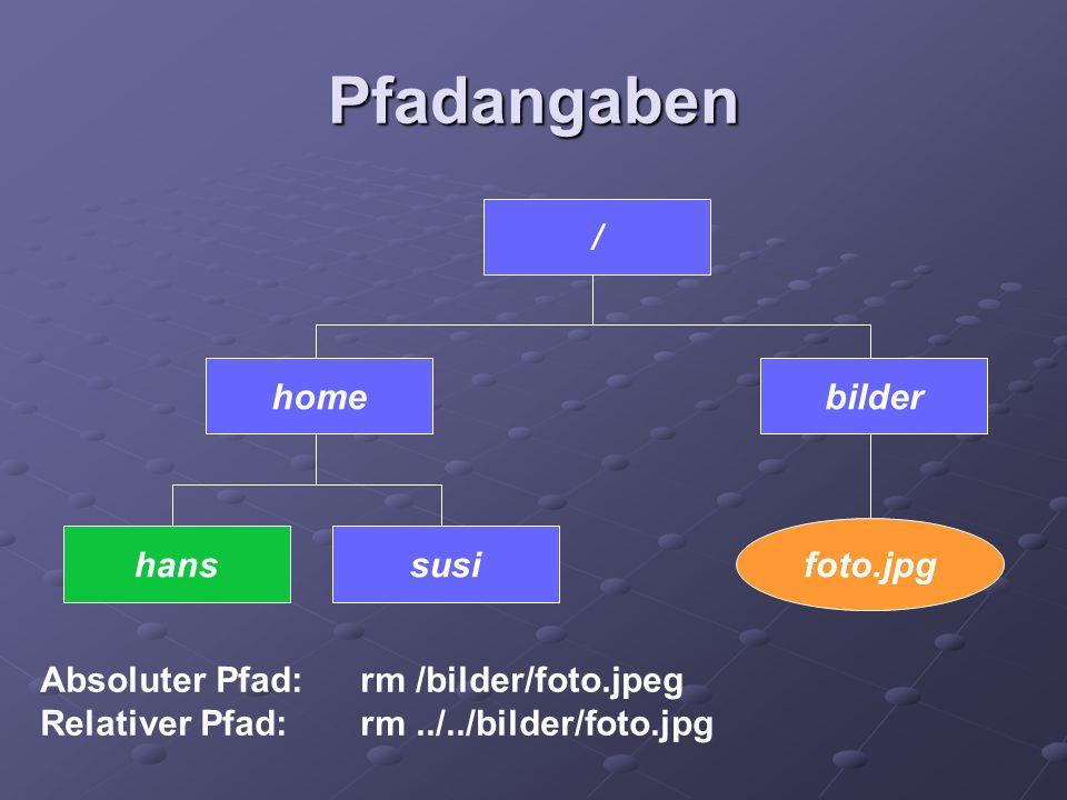 Pfadangaben / susihans homebilder foto.jpg Absoluter Pfad: rm /bilder/foto.jpeg Relativer Pfad:rm../../bilder/foto.jpg