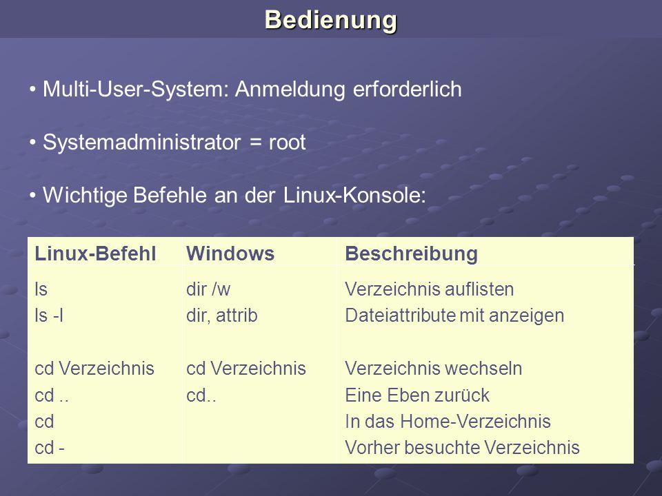 Multi-User-System: Anmeldung erforderlich Systemadministrator = root Wichtige Befehle an der Linux-Konsole: Linux-BefehlWindowsBeschreibung lsdir /wVe