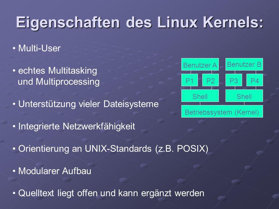 Eigenschaften des Linux Kernels: Multi-User echtes Multitasking und Multiprocessing Unterstützung vieler Dateisysteme Integrierte Netzwerkfähigkeit Or