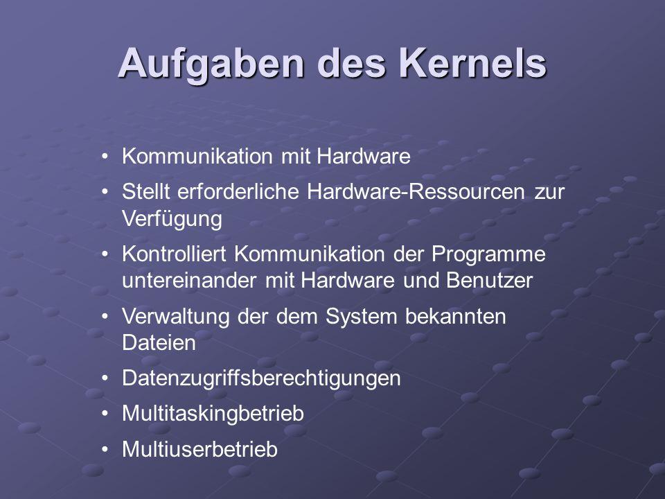 Aufgaben des Kernels Kommunikation mit Hardware Stellt erforderliche Hardware-Ressourcen zur Verfügung Kontrolliert Kommunikation der Programme untere