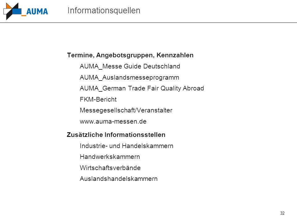 32 Informationsquellen Termine, Angebotsgruppen, Kennzahlen AUMA_Messe Guide Deutschland AUMA_Auslandsmesseprogramm AUMA_German Trade Fair Quality Abr