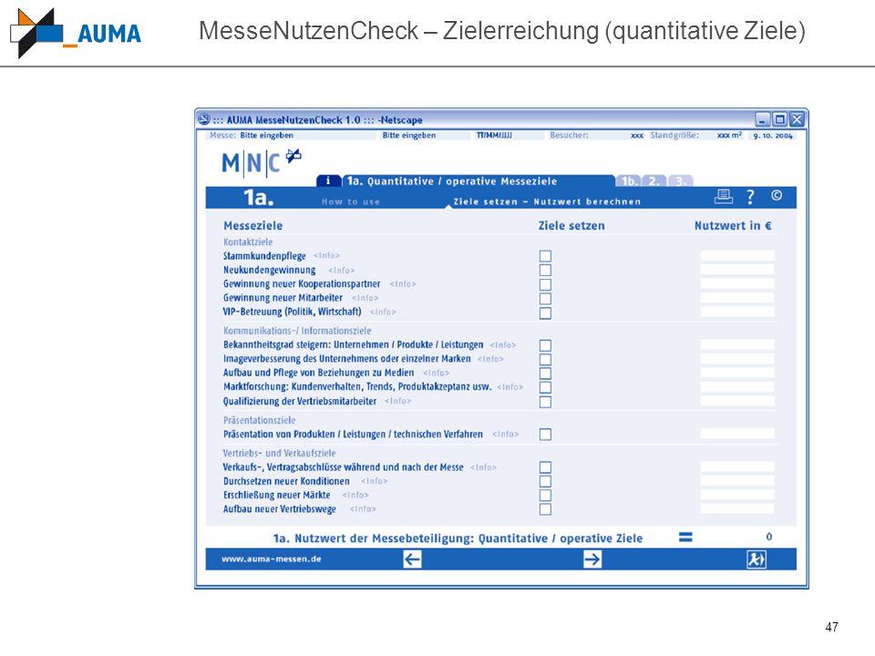 47 MesseNutzenCheck – Zielerreichung (quantitative Ziele)
