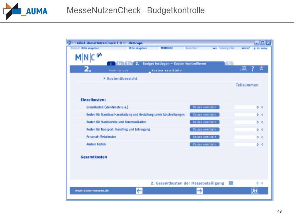 49 MesseNutzenCheck - Budgetkontrolle