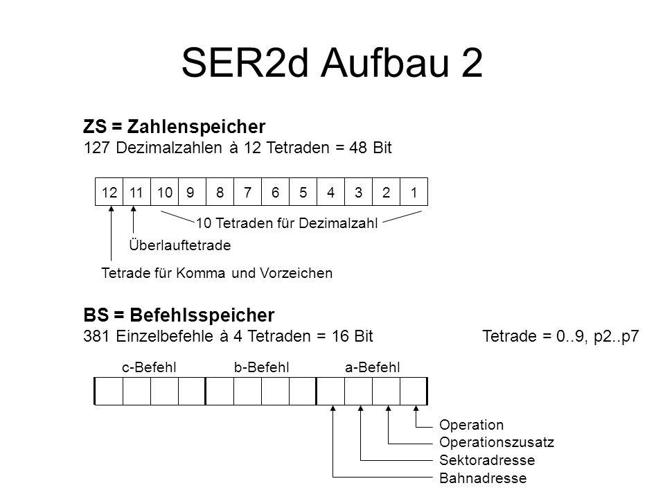 SER2d Aufbau 2 ZS = Zahlenspeicher 127 Dezimalzahlen à 12 Tetraden = 48 Bit 121110 9 8 7 6 5 4 3 2 1 Überlauftetrade Tetrade für Komma und Vorzeichen 10 Tetraden für Dezimalzahl BS = Befehlsspeicher 381 Einzelbefehle à 4 Tetraden = 16 BitTetrade = 0..9, p2..p7 c-Befehla-Befehlb-Befehl Operation Operationszusatz Sektoradresse Bahnadresse