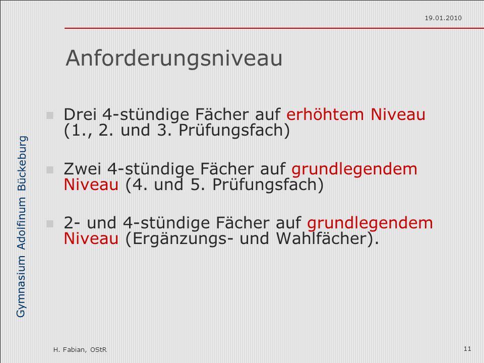 Gymnasium Adolfinum Bückeburg H. Fabian, OStR 19.01.2010 11 Anforderungsniveau Drei 4-stündige Fächer auf erhöhtem Niveau (1., 2. und 3. Prüfungsfach)