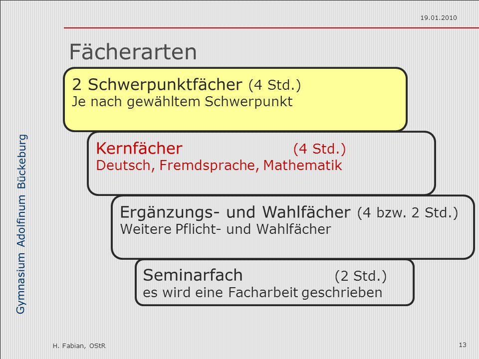 Gymnasium Adolfinum Bückeburg H. Fabian, OStR 19.01.2010 13 Fächerarten 2 Schwerpunktfächer (4 Std.) Je nach gewähltem Schwerpunkt Seminarfach (2 Std.