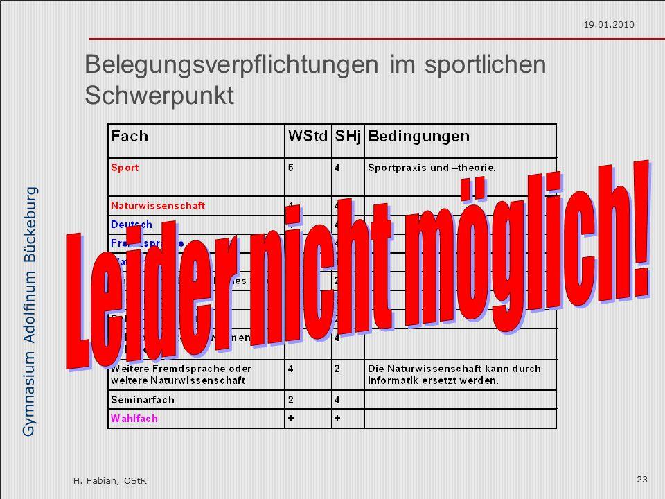 Gymnasium Adolfinum Bückeburg H. Fabian, OStR 19.01.2010 23 Belegungsverpflichtungen im sportlichen Schwerpunkt