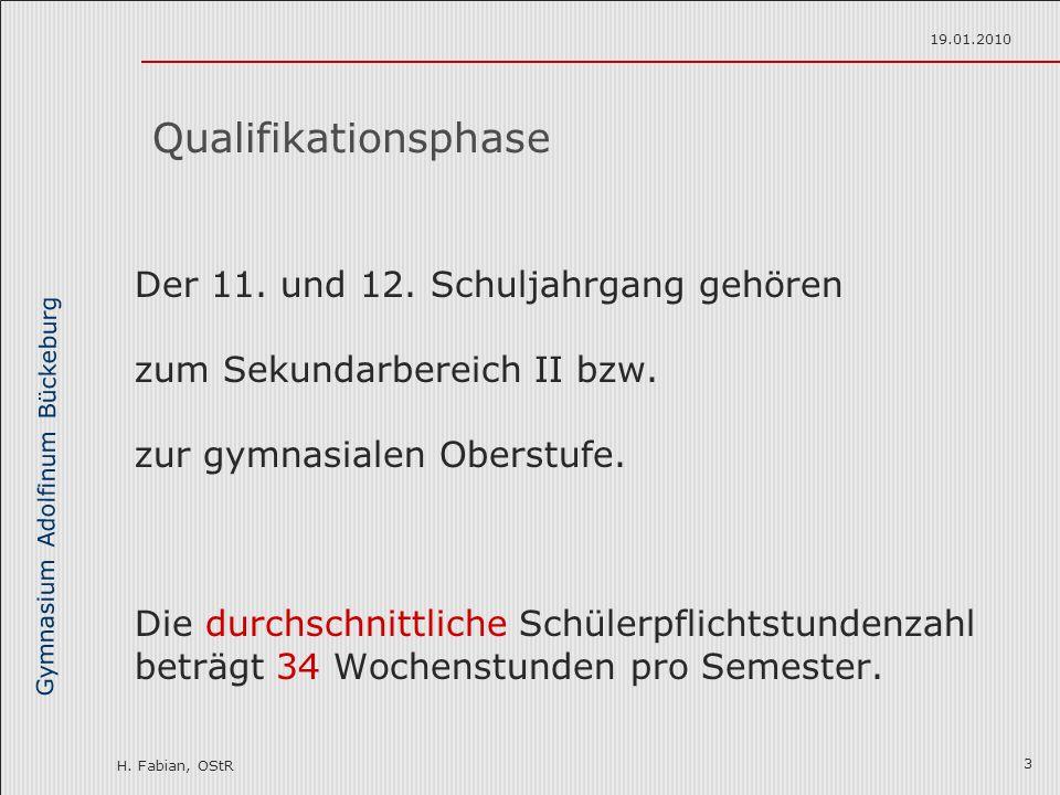 Gymnasium Adolfinum Bückeburg H. Fabian, OStR 19.01.2010 3 Der 11. und 12. Schuljahrgang gehören zum Sekundarbereich II bzw. zur gymnasialen Oberstufe