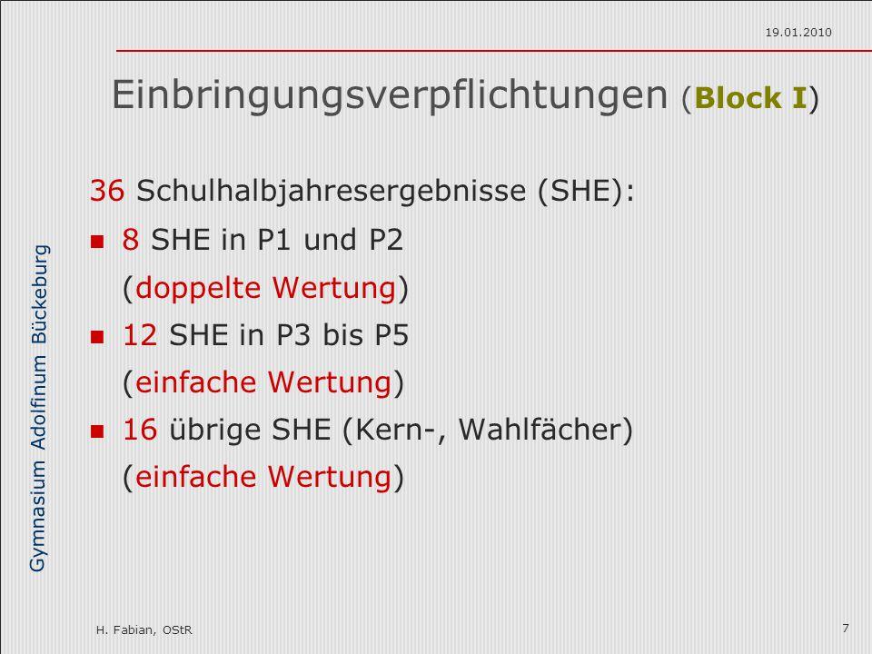 Gymnasium Adolfinum Bückeburg H. Fabian, OStR 19.01.2010 7 Einbringungsverpflichtungen (Block I) 36 Schulhalbjahresergebnisse (SHE): 8 SHE in P1 und P