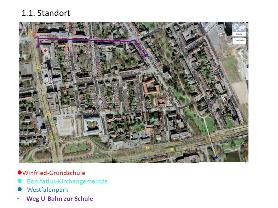 Winfried-Grundschule Bonifatius-Kirchengemeinde Westfalenpark - Weg U-Bahn zur Schule 1.1. Standort