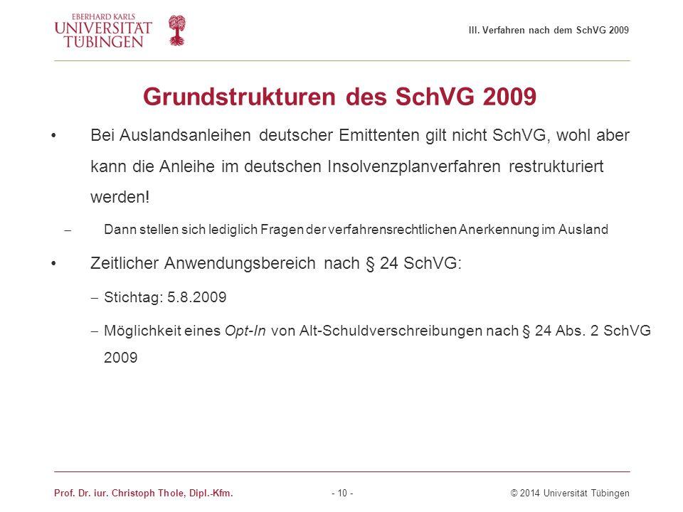 Grundstrukturen des SchVG 2009 Bei Auslandsanleihen deutscher Emittenten gilt nicht SchVG, wohl aber kann die Anleihe im deutschen Insolvenzplanverfah