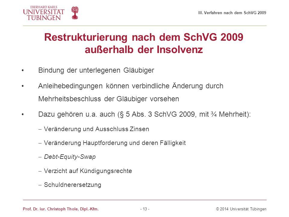 Restrukturierung nach dem SchVG 2009 außerhalb der Insolvenz Bindung der unterlegenen Gläubiger Anleihebedingungen können verbindliche Änderung durch