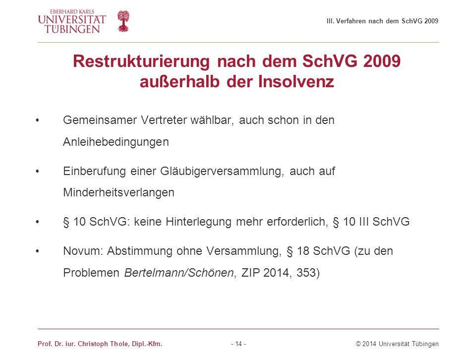 Restrukturierung nach dem SchVG 2009 außerhalb der Insolvenz Gemeinsamer Vertreter wählbar, auch schon in den Anleihebedingungen Einberufung einer Glä