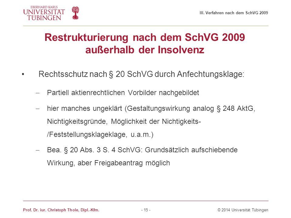 Restrukturierung nach dem SchVG 2009 außerhalb der Insolvenz Rechtsschutz nach § 20 SchVG durch Anfechtungsklage:  Partiell aktienrechtlichen Vorbild