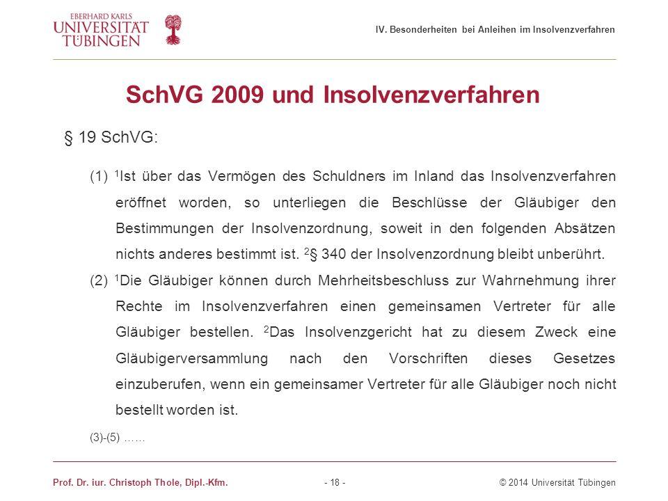 SchVG 2009 und Insolvenzverfahren § 19 SchVG: (1) 1 Ist über das Vermögen des Schuldners im Inland das Insolvenzverfahren eröffnet worden, so unterlie