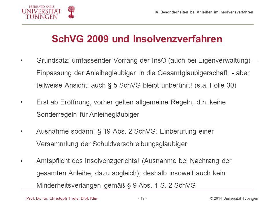SchVG 2009 und Insolvenzverfahren Grundsatz: umfassender Vorrang der InsO (auch bei Eigenverwaltung) – Einpassung der Anleihegläubiger in die Gesamtgl