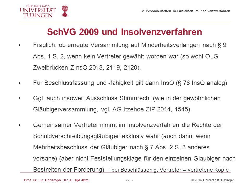 SchVG 2009 und Insolvenzverfahren Fraglich, ob erneute Versammlung auf Minderheitsverlangen nach § 9 Abs. 1 S. 2, wenn kein Vertreter gewählt worden w