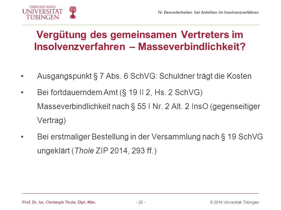 Vergütung des gemeinsamen Vertreters im Insolvenzverfahren – Masseverbindlichkeit? Ausgangspunkt § 7 Abs. 6 SchVG: Schuldner trägt die Kosten Bei fort