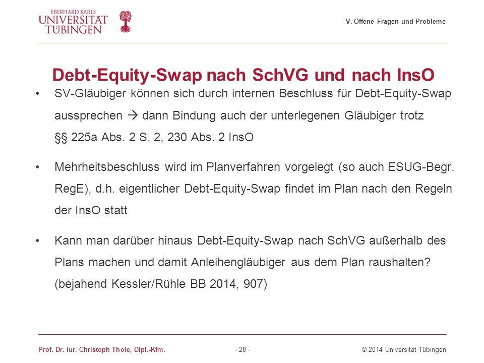 Debt-Equity-Swap nach SchVG und nach InsO SV-Gläubiger können sich durch internen Beschluss für Debt-Equity-Swap aussprechen  dann Bindung auch der u