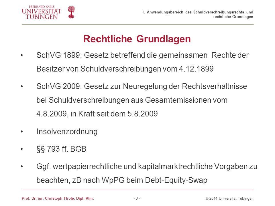 Rechtliche Grundlagen SchVG 1899: Gesetz betreffend die gemeinsamen Rechte der Besitzer von Schuldverschreibungen vom 4.12.1899 SchVG 2009: Gesetz zur