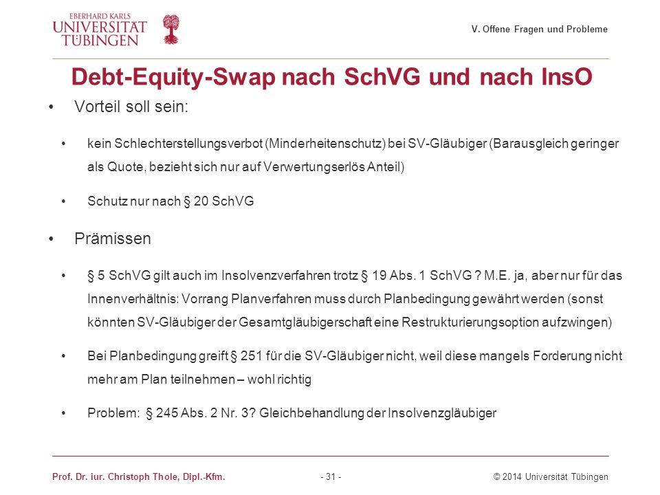 Debt-Equity-Swap nach SchVG und nach InsO Vorteil soll sein: kein Schlechterstellungsverbot (Minderheitenschutz) bei SV-Gläubiger (Barausgleich gering