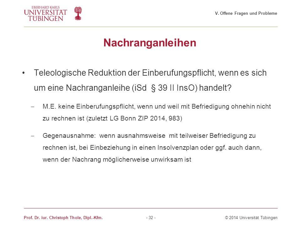 Nachranganleihen Teleologische Reduktion der Einberufungspflicht, wenn es sich um eine Nachranganleihe (iSd § 39 II InsO) handelt?  M.E. keine Einber