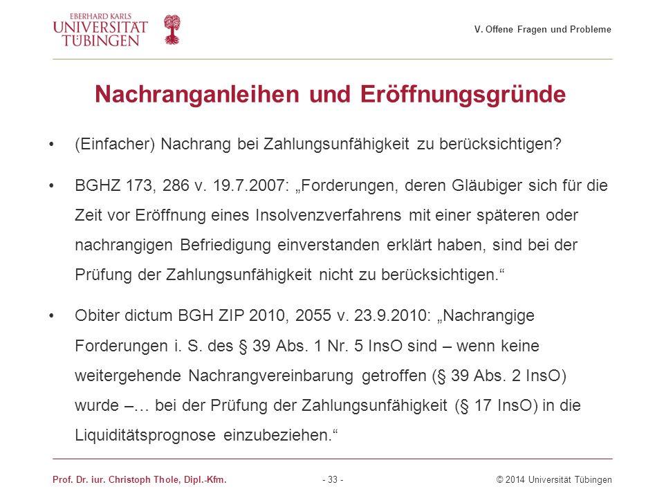 """Nachranganleihen und Eröffnungsgründe (Einfacher) Nachrang bei Zahlungsunfähigkeit zu berücksichtigen? BGHZ 173, 286 v. 19.7.2007: """"Forderungen, deren"""