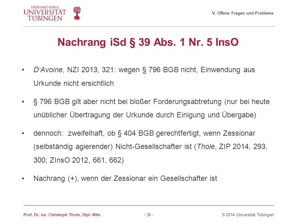 Nachrang iSd § 39 Abs. 1 Nr. 5 InsO D'Avoine, NZI 2013, 321: wegen § 796 BGB nicht, Einwendung aus Urkunde nicht ersichtlich § 796 BGB gilt aber nicht