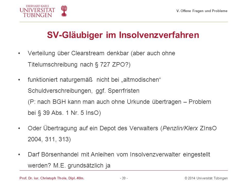 SV-Gläubiger im Insolvenzverfahren Verteilung über Clearstream denkbar (aber auch ohne Titelumschreibung nach § 727 ZPO?) funktioniert naturgemäß nich