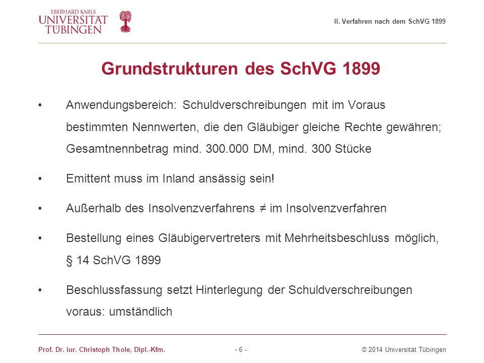 Grundstrukturen des SchVG 1899 Anwendungsbereich: Schuldverschreibungen mit im Voraus bestimmten Nennwerten, die den Gläubiger gleiche Rechte gewähren