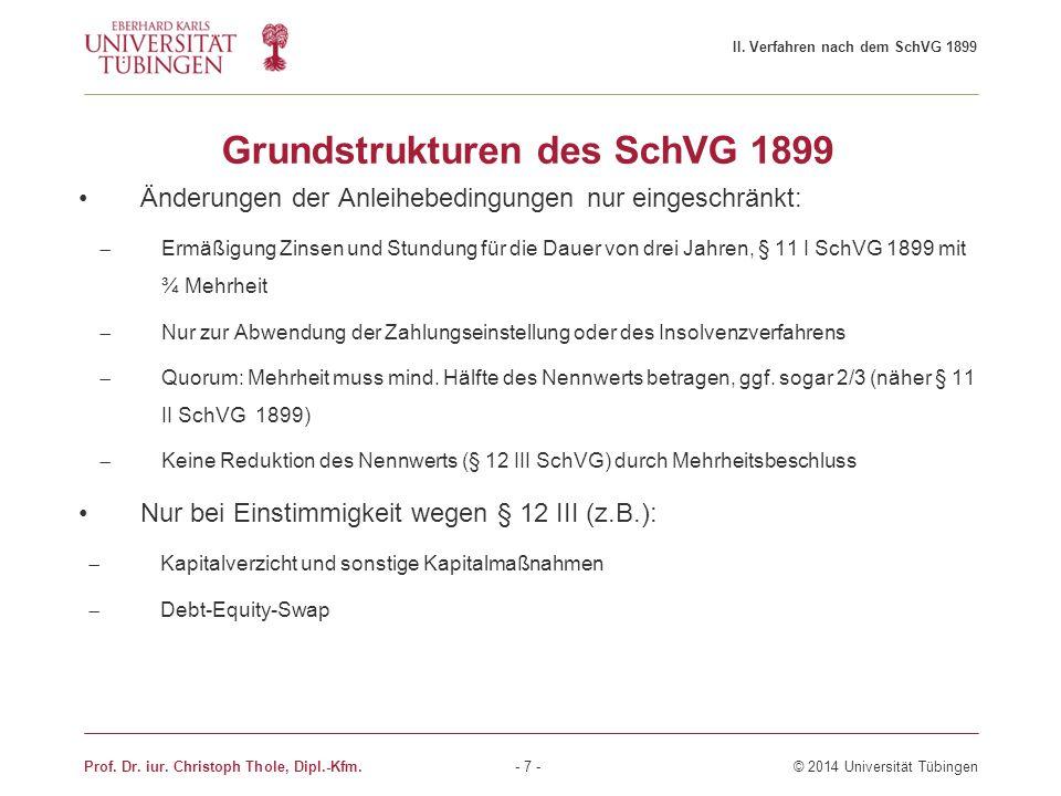Grundstrukturen des SchVG 1899 Änderungen der Anleihebedingungen nur eingeschränkt:  Ermäßigung Zinsen und Stundung für die Dauer von drei Jahren, §