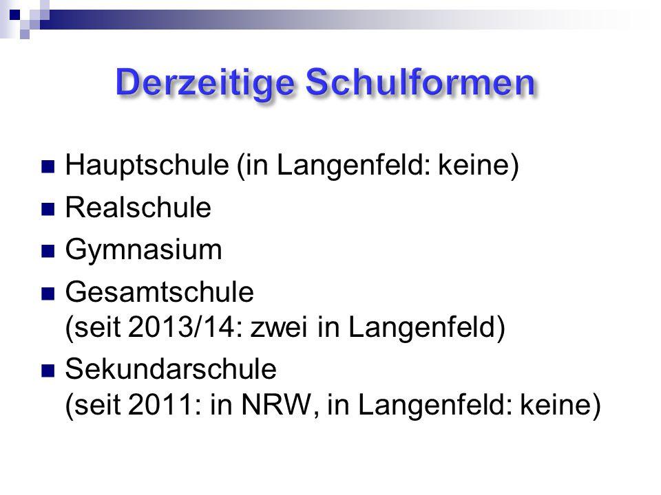 Hauptschule (in Langenfeld: keine) Realschule Gymnasium Gesamtschule (seit 2013/14: zwei in Langenfeld) Sekundarschule (seit 2011: in NRW, in Langenfeld: keine)