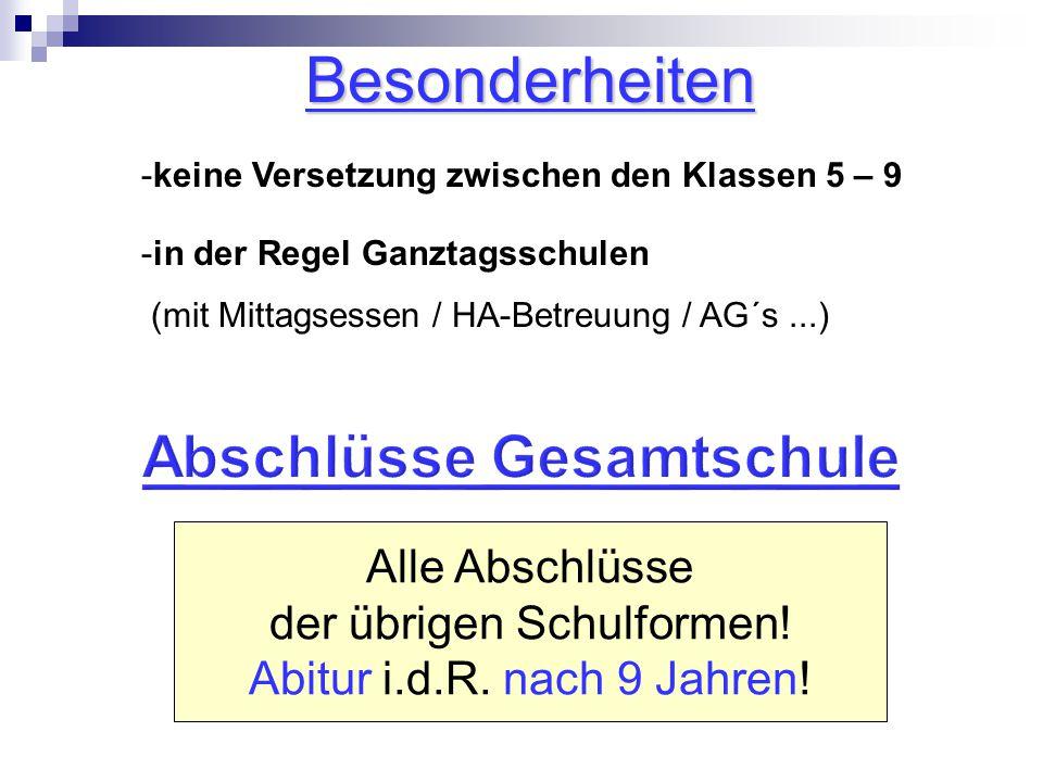 Alle Abschlüsse der übrigen Schulformen.Abitur i.d.R.