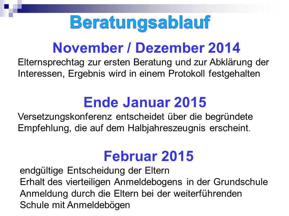 November / Dezember 2014 Elternsprechtag zur ersten Beratung und zur Abklärung der Interessen, Ergebnis wird in einem Protokoll festgehalten Ende Januar 2015 Versetzungskonferenz entscheidet über die begründete Empfehlung, die auf dem Halbjahreszeugnis erscheint.